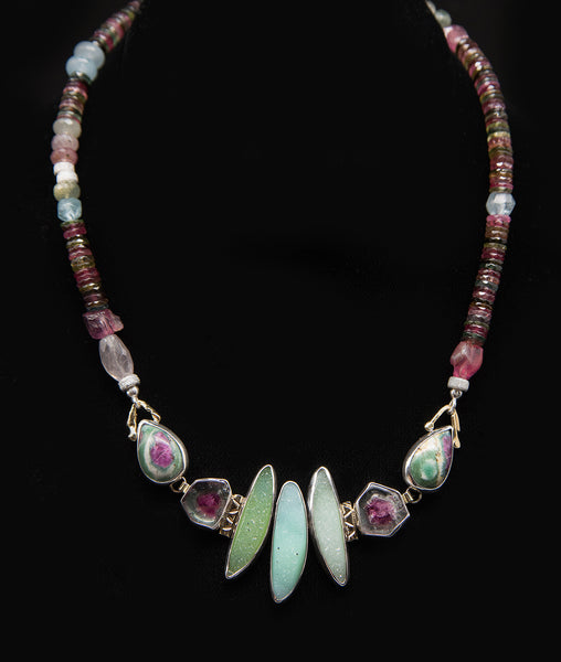 Jennifer Kalled Tourmaline & Drusy Quartz Necklace