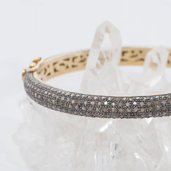 oxidized-sterling-silver-gold-diamonds-bracelet-Taj-Company