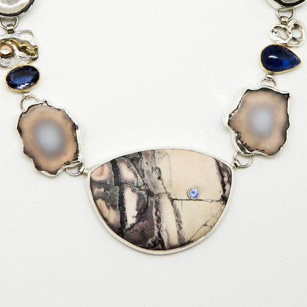 Jennifer-Kalled-jasper-tanzanite-kyanite-pearl-necklace