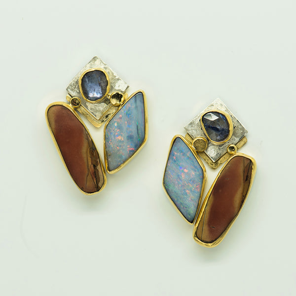 Jennifer-Kalled-earrings-cherry-creek-jasper-boulder-opal-tanzanite-22k-gold-sterling-silver
