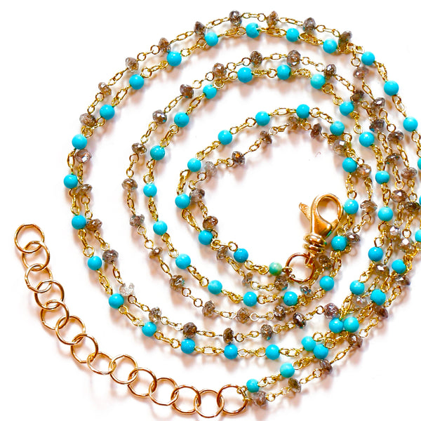 18k Gold Turquoise & Champagne Diamond Necklace