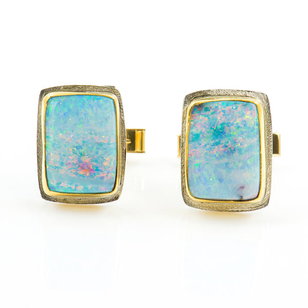 cuff-links-australian-boulder-opal-22k-18-14k-gold-sterling-silver-Jennifer-Kalled