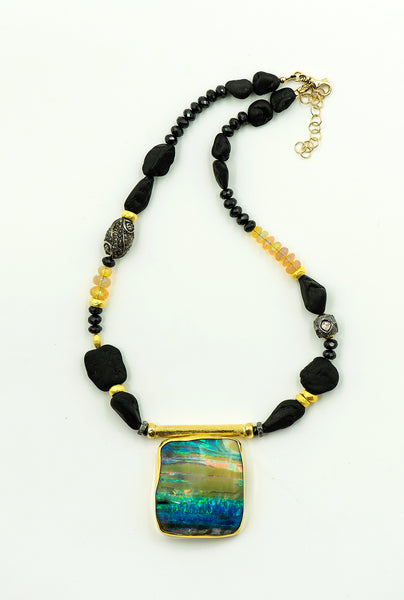 opal-black-spinel-ethiopian-opal-gold-bead-lava-rock-sterling-silver-bead-22k-18k-necklace-Jennifer-Kalled