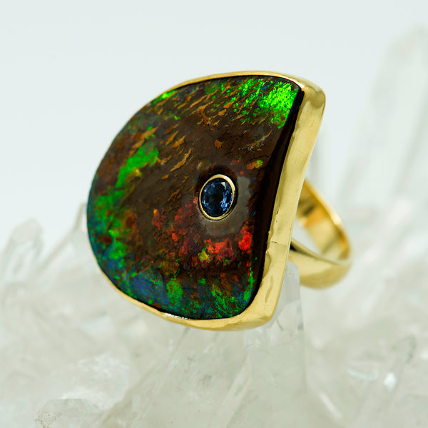 Jennifer-Kalled-Australian-boulder-opal-ring-tanzanite-22k-18k-14k-gold
