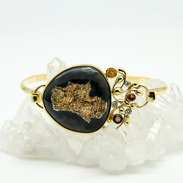 Jennifer-Kalled-black-agate-gold-drusy-hinged-bracelet-diamond-sapphire-quartz