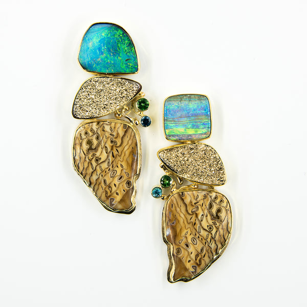 Jennifer-Kalled-boulder-opal-drusy-sequoia-22k-18k-14k-earrings