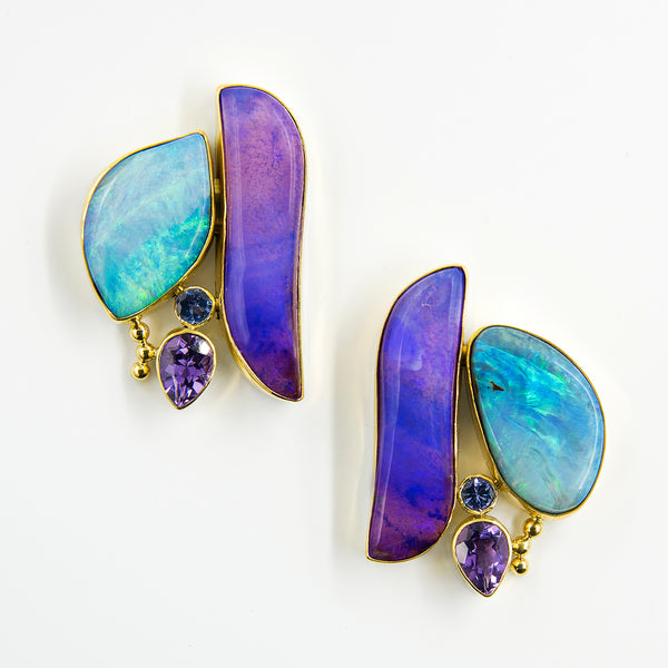 Jennifer-Kalled-Australian-boulder-opal-amethyst-tanzanite-22k-18k-14k-earrings