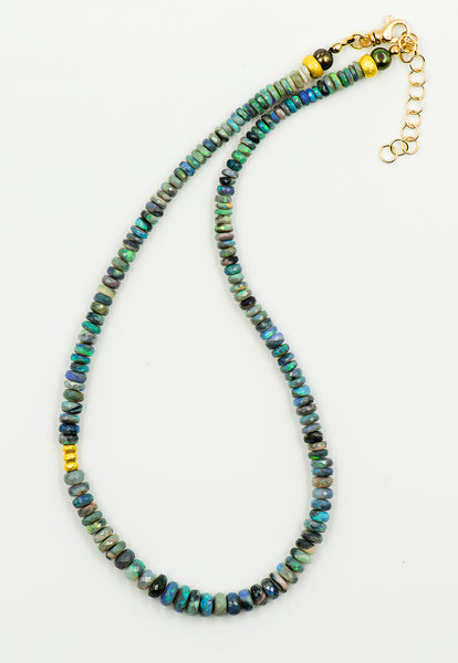 Australian-boulder-opal-14k-gold-beads-beaded-necklace-Jennifer-Kalled