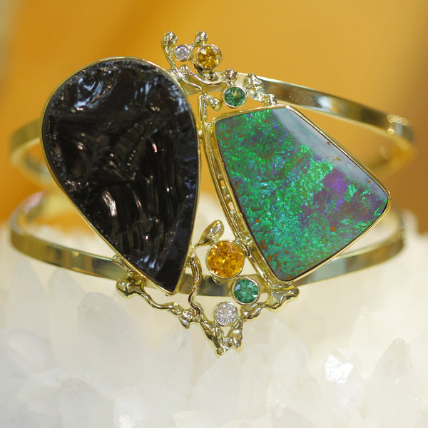 Black Tourmaline and Opal Cuff