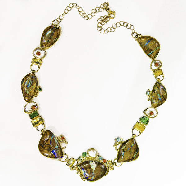 Boulder opal pearl tourmaline garnet 22k gold necklace kalled