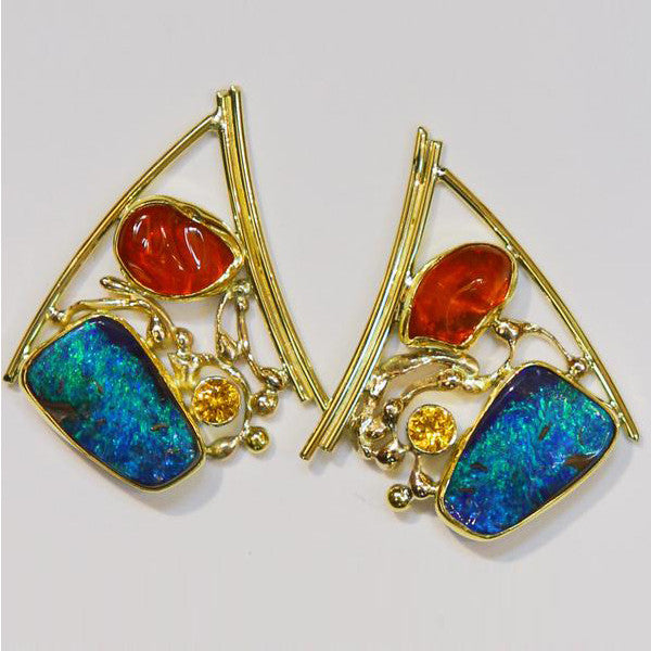 Boulder-Opal-Mexican-Opal-Earrings-Gold-Kalled