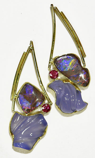 BOULDER OPAL EARRINGS with carved chalcedony
