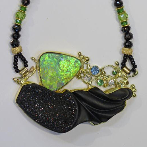 Boulder-opal-carved-onyx-drusy-necklace