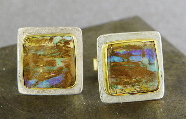 Opalized Wood Cuff Links