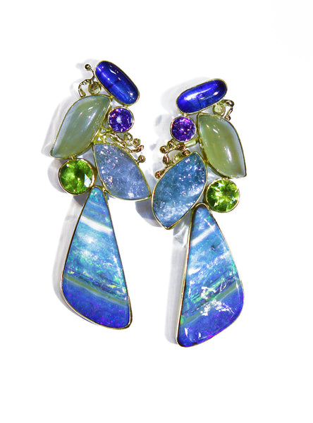 striped boulder opal kyanite aquamarine peridot earring 22k gold