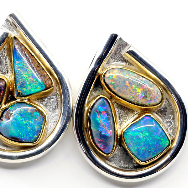 boulder-opal-teardrop-earrings -6-boulder-opals-silver-gold-kalled-kasso