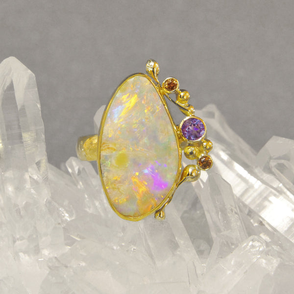 Boulder-opal-ring-amethyst-zircon-gold-kalled