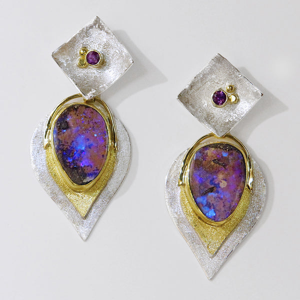Boulder-opal-silver-gold-layered-earrings-kalled