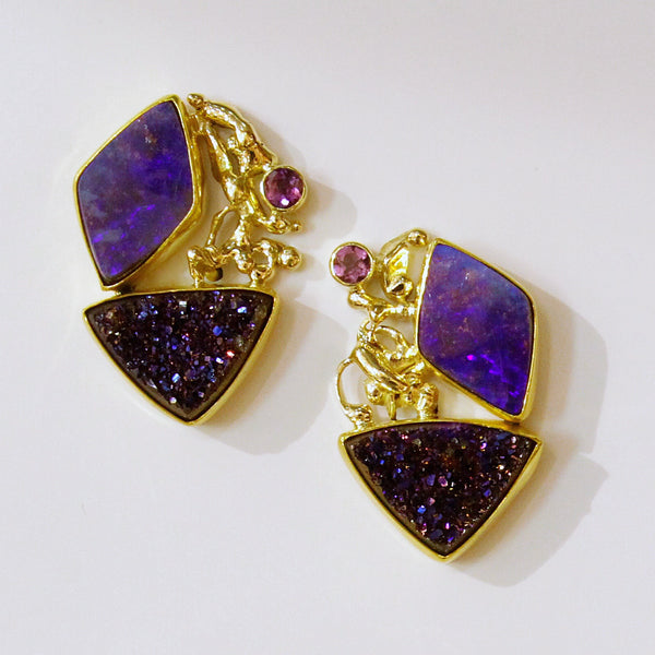 Boulder-opal-magenta-drusy-gold-earrings