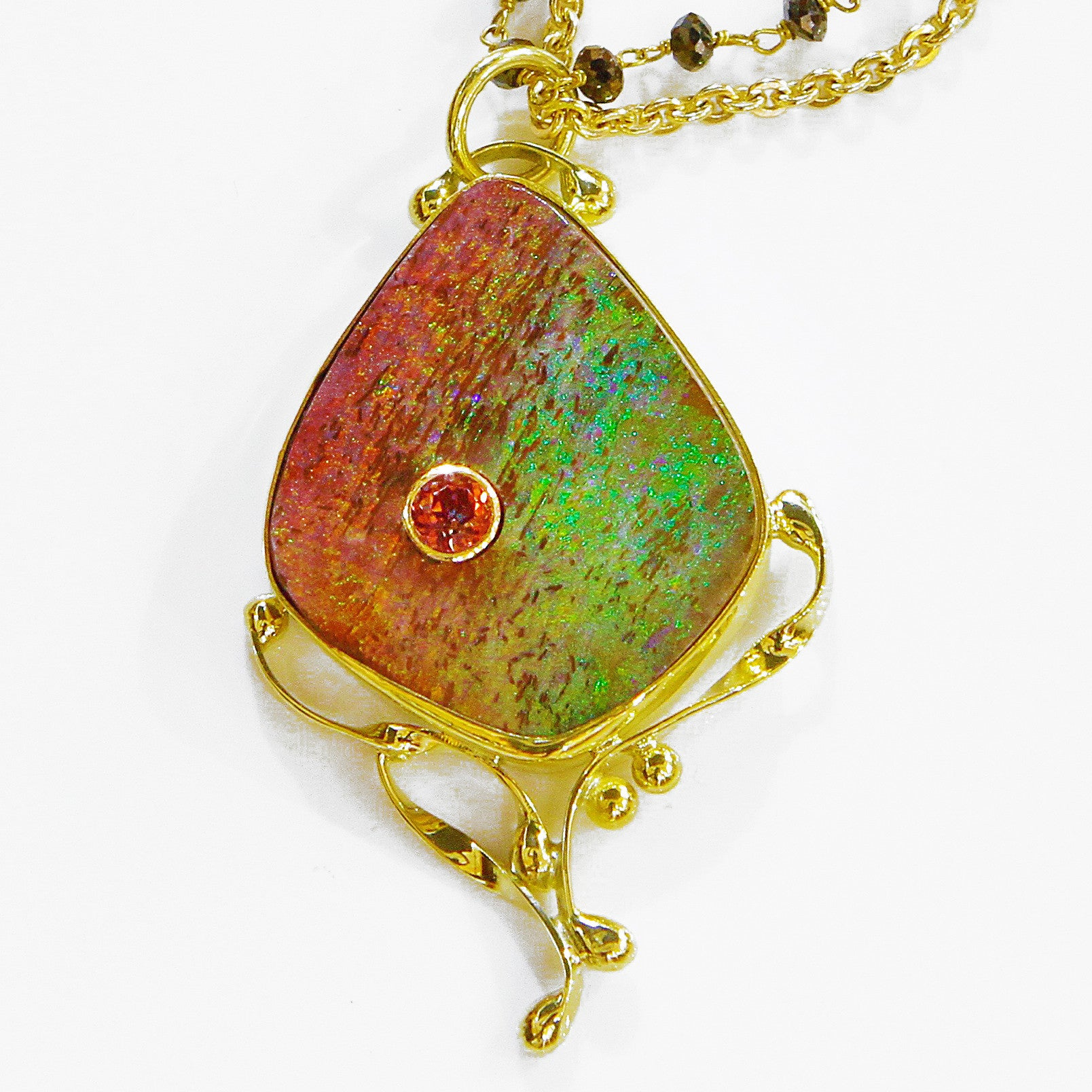banque pendant gold australian diamond in boulder opal products