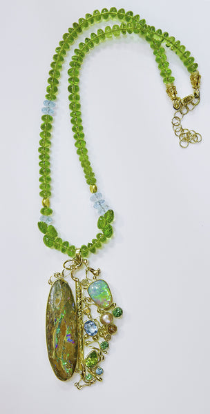 "Boulder Opal Pendant on Peridot Beads ""A Walk in the Woods"""