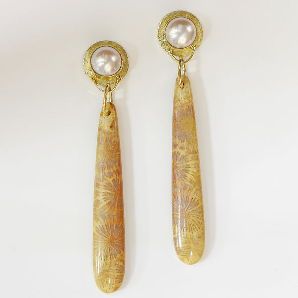 Petrified-coral-pearl-post-earrings
