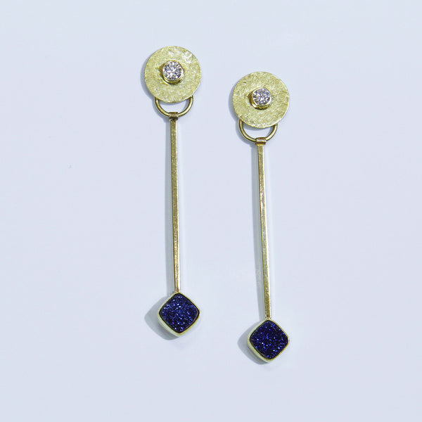 Blue Drusy Pendulum Earrings