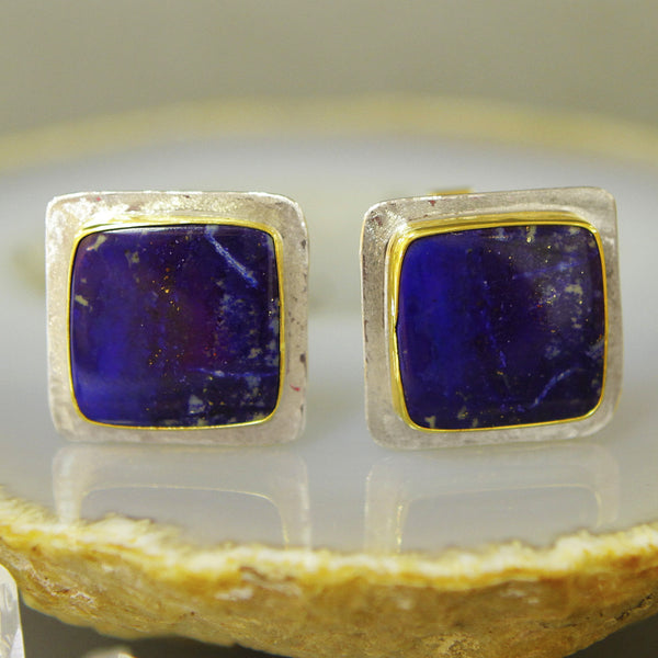 Lapis-cuff-links-silver-gold-kalled