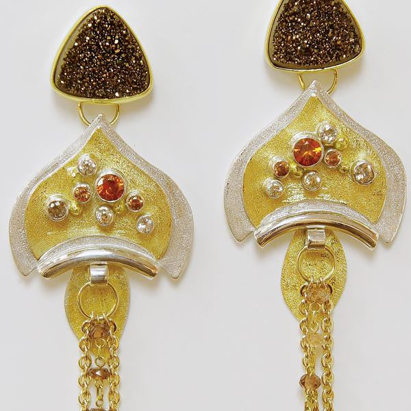 Drusy-layered-silver-gold-earrings-kalled