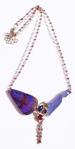 purple turquoise carved chalcedony pink sapphire 22k gold necklace