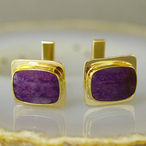 Sugilite-cuff-links-kalled-gold