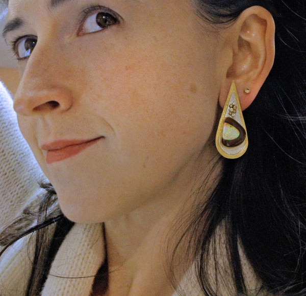 Yowah Nut Opal Earrings