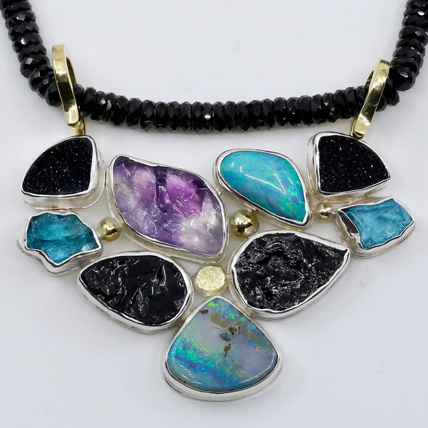 Boulder Opal Black Tourmaline Necklace with Amethyst Apatite Sterling Silver 18k gold