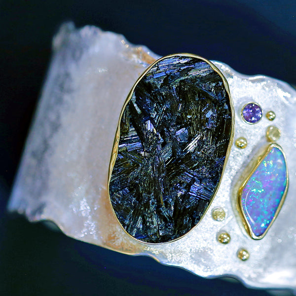 Black Tourmaline and Boulder Opal Cuff Bracelet
