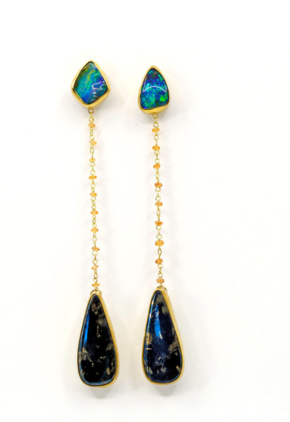 boulder-opal-covellite-earring-jacket-gold-kalled-kasso