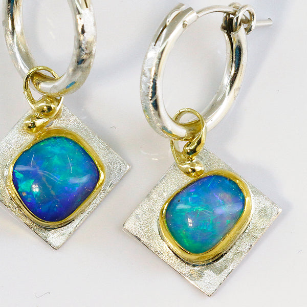 Boulder Opal Earrings in Sterling Silver and 22k Gold
