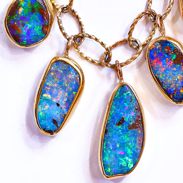 5 Opal Dangle Necklace