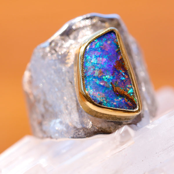 Boulder Opal Ring in Silver Gold