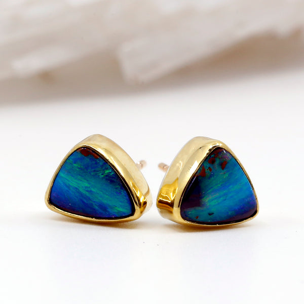 Jennifer Kalled Boulder Opal Stud Earrings 22k Gold 14 Gold