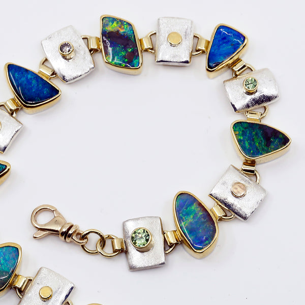 Boulder Opal Link Bracelet Demantoid Garnet Diamond 22k Gold Sterling Silver