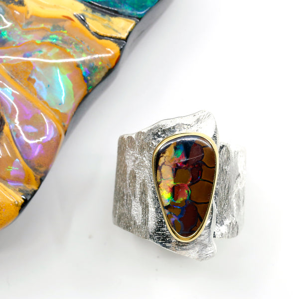 Matrix Boulder Opal Ring 22k Gold Sterling Silver Wide Band Kalled