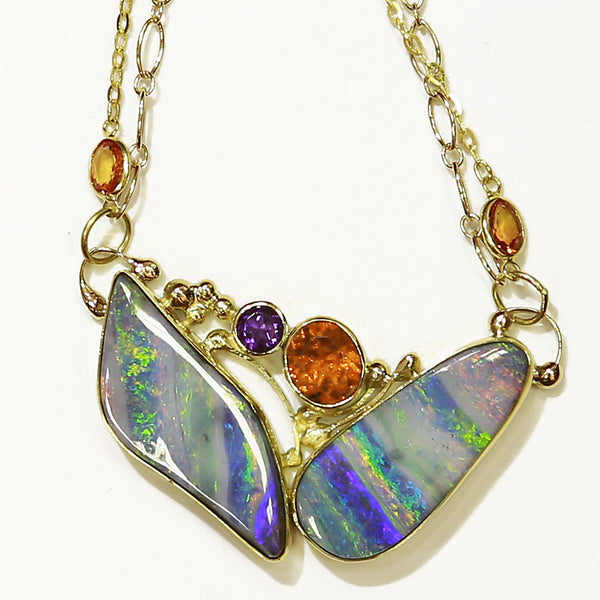 Boulder Opal Necklace with Orange Sapphire