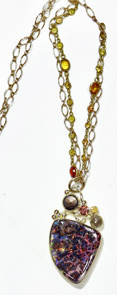 boulder opal brown sapphire rose cut diamond 22k gold kalled necklace