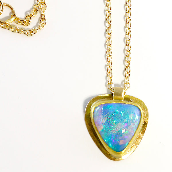 Opal Pendant in Petrified Wood Gold