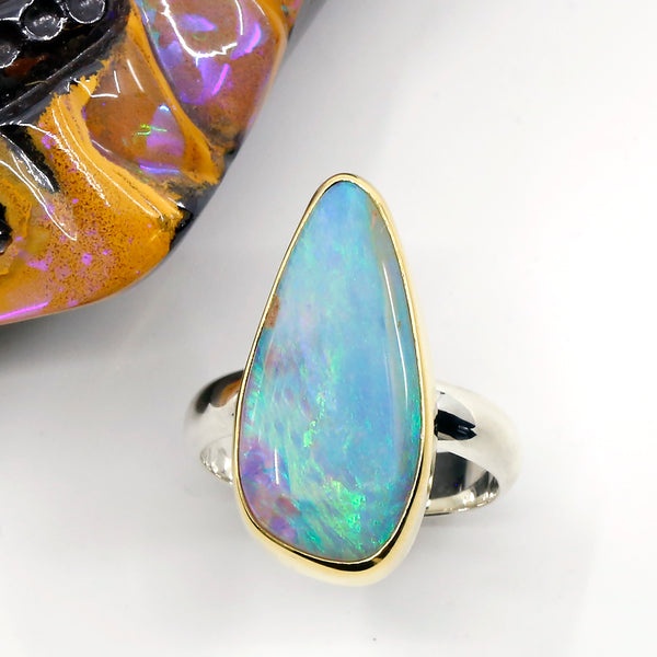 Boulder Opal Ring 22k Gold Sterling Silver 4mm Band