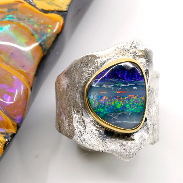 Boulder Opal Ring 22k Gold Sterling Silver