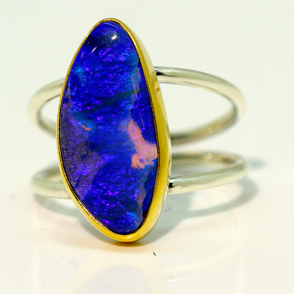Boulder Opal Ring Petrified Wood Opal in 22k Gold Sterling Silver