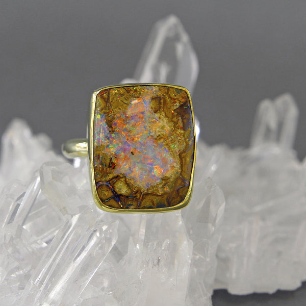 Boulder Opal Ring (Opalized Wood)