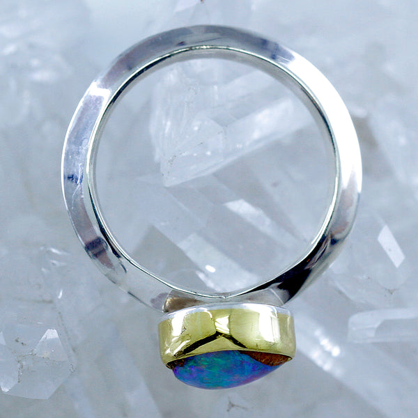 Boulder Opal Ring in 22k Gold and Sterling Silver