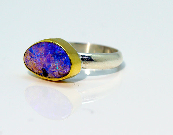Boulder Opal Gold Ring Petrified Wood Opal